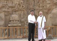 PM Modi with Chinese President Xi Jinping at the Arjuna's Penance in Mahabalipuram