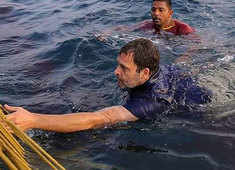 Watch: Rahul Gandhi swims with fishermen in Kerala's Kollam