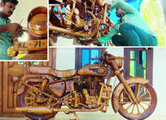 Watch: Kerala man crafts wooden replica of Royal Enfield Bullet out of sheer love for bike