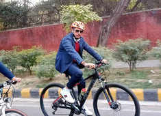 Fuel price hike: Robert Vadra rides a bicycle in protest, says PM must come out of A/C cars to feel pain of common man