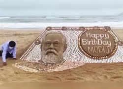 Watch: Sand artist Sudarsan Pattnaik creates sand art wishing PM Modi on his birthday