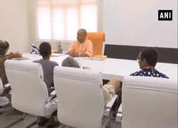 CM Yogi meets family of Kamlesh Tiwari in Lucknow