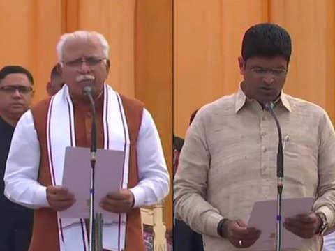 Manohar Lal Khattar takes oath as Haryana CM for second term, Dushyant Chautala as Dy CM