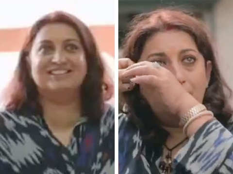 Smriti Irani visits her first home in Haryana after 35 years, breaks into tears