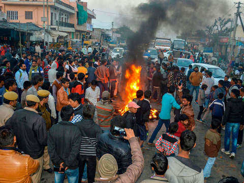 Sachin Pilot supporters burn tyres, block roads in Rajasthan