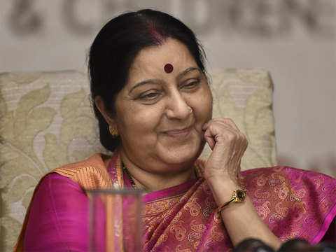 Sushma Swaraj discusses issues of mutual interest with Bulgarian counterpart