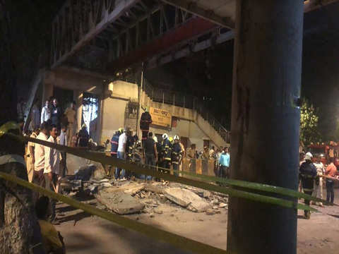 Foot overbridge collapses near CST station in Mumbai, over 30 injured and 6 dead