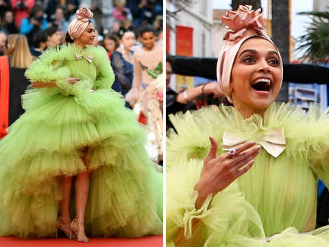 High on fashion: Deepika Padukone glitters in shades of green, walks Cannes red carpet again