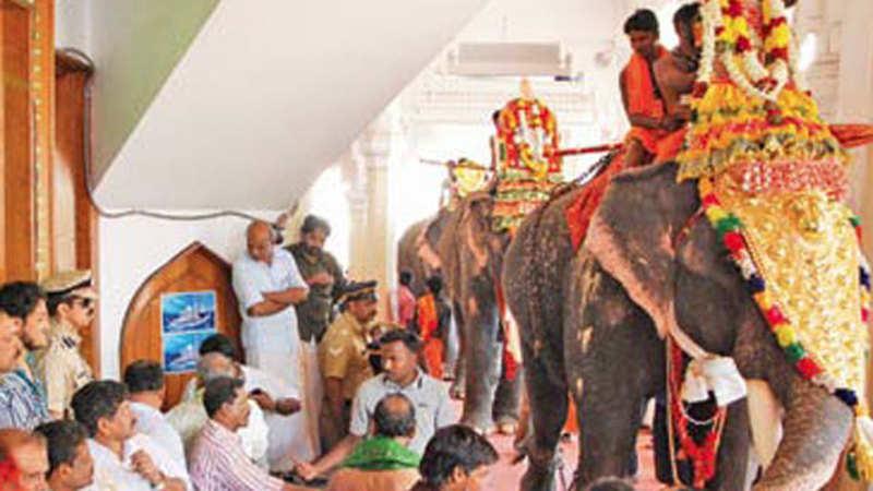 Before arriving at Sabarimala temple in Kerala, devotees visit a