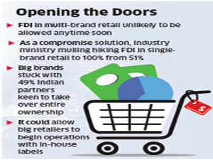 Government may allow 100% FDI in single-brand retail