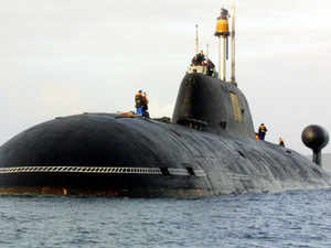 A file picture taken in Brest harbor, western France, on September 21, 2004, shows the Vepr Russian nuclear submarine of the Project 971 Shchuka-B type, or Akula-class (Shark) by NATO classification , the same type as the Nerpa Russian nuclear submarine. Russia has handed over the nuclear-powered attack submarine Nerpa to India at a ceremony that followed more than two years of delays, a source in the naval chief of staff told ITAR-TASS today. (AFP)