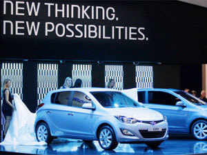 The new Hyundai i20 is unveiled on March 6, 2012 during the press preview days at the 82nd Geneva International Motor Show in Geneva, Switzerland. (AP)