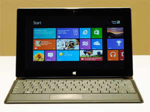 The Microsoft tablet Surface with Touch Type is unveiled during a news conference at Milk Studios on June 18, 2012 in Los Angeles, California. (AFP)