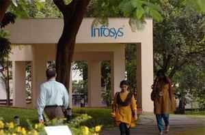 Infosys' falling shares attractive, but are there large blocks available?