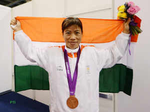 Mary Kom with bronze medal in boxing of the London 2012 Olympic Games at Olympic Stadium on Thursday.