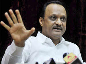 Deputy Chief Minister Ajit Pawar of NCP speaks at a press conference to announce his resignation as the Deputy Chief Minister of Maharashtra in Mumbai on Tuesday. PTI