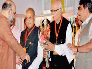 Shah with Dhumal, Advani & Gadkari during the 2nd day of BJP National Executive at Surajkund in Faridabad on Thursday (Image: PTI)