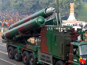 File photo: A view of the BrahMos missile and launcher on display during the full dress rehearsal for the Republic Day at Rajpath in New Delhi.  An anti-ship version of BrahMos, will be launched from a submarine platform by year-end, the Russian partner firm in the project said. (BCCL photo)