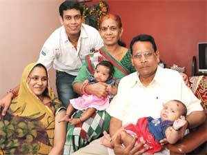 Harshad Doshi, with his wife Varsha, twin daughters and Harshad's parents, in Mumbai.
