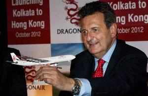Dragonair General Manager (South Asia, Middle East and Africa) Tom Wright at the launch of the airlines' new service in Kolkata on Wednesday.