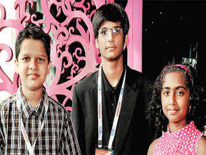Young achievers Arjun Bharat (L), Raghav Sood and Thrisha Mohan at Nasscom Product Conclave 2012.
