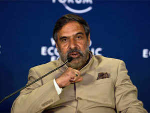 Commerce and industry minister Anand Sharma speaks during the World Economic Forum summit in Gurgaon on November 8, 2012. (AFP)