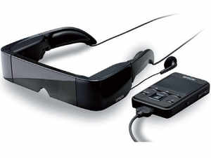 Epson's BT-100 looks like something out of a sci-fi movie, but in reality it's a wearable, see-through, head-mounted 3D-ready display.