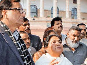 BSP chief Mayawati with party leaders outside Parliament House in New Delhi on Wednesday — PTI