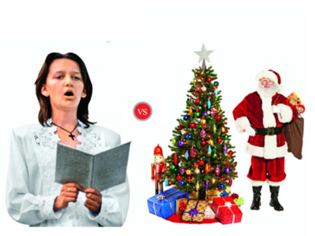 """Hymns are songs in praise of God and are solemn like these: """"Lucis largitor splendide"""", """"Veni, Redemptor gentium"""". Carol topics include the sacred as well as secular — """"White Christmas"""" and """"Jingle Bells"""""""
