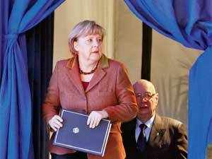 German chancellor Angela Merkel arrives at the WEF.