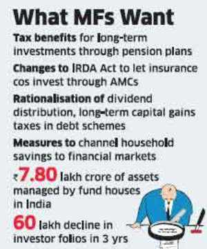 Local fund houses, which manage Rs 7.80 lakh crore of assets, are waiting to see if the government will approve plans by mutual funds to offer pension schemes with tax benefits to help boost business.