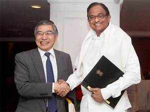 Government's intention to reduce fiscal deficit will help boost growth prospects in medium term, says ADB Chief Haruhiko Kuroda.  In pic: President of Asian Development Bank, Haruhiko Kuroda and Union Finance Minister P Chidambaram shake hands at a meeting in New Delhi on Friday.