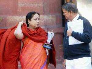 File photo: Union Minister for Water Resources, Harish Rawat and Environment Minister Jayanthi Natarajan after a Cabinet meeting at South Block in New Delhi.