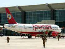 Shares of Kingfisher Airlines fell as much as five per cent on the bourses today and got stuck in the lower circuit limit of Rs 10.21 on the BSE.