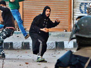 BRICK LANE: Youth in Srinagar protesting the death of 28-year old Kashmiri student in Hyderabad over the weekend