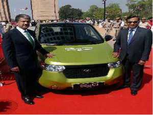 With India Gate in the background, Anand Mahindra on Monday launched the e2o, pronounced Etwo-OH- taking a familiar path for the automobile maker with a penchant for names ending in O
