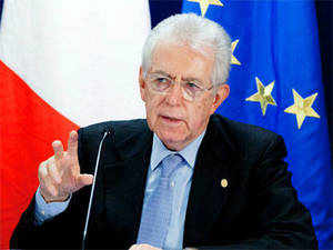 """Italy's outgoing Prime Minister Mario Monti said that since the pair had been returned relations had improved between the two countries that should lead to """"a quick solution"""". (Pic: AP)"""