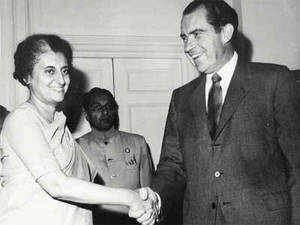 """In pic: File photo of Former Prime Minister Indira Gandhi with former US President Richard Nixon.  """"We wish now to resume relations that were interrupted in mid-1971 on the basis of this new situation,"""" Richard Nixon had said."""