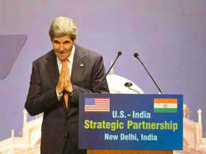 Kerry is in India for the fourth India-US Strategic Dialogue, which will take place on Monday. He will be meeting Prime Minister Manmohan Singh.