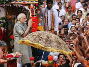 Two Unmanned Aerial Vehicles (UAV) hovered over the skies of Ahmedabad as Gujarat Chief Minister Narendra Modi performed rituals amid tight security to flag off the traditional Jagannath Rath Yatra.