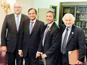 Finance Minister P. Chidambaram (2nd from Left) with Co-Chair of House India Caucus Congressman Joe Crowley (Left), Congressman Ami Bera (2nd from Right) and Congressman Erik Paulsen at a meeting in Washington DC on Thursday.