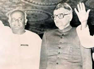 File picture- H D Deve Gowda  with Governor of Karnataka Mr. Khurshed Alam Khan waving to the crowd after being sworn in as Chief Minister on December 11, 1994.