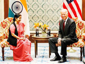 Sushma Swaraj meets Joe Biden, refrains from raising Narendra Modi visa issue