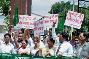 Rastriya Lokdal (RLD) leaders today met Uttar Pradesh Governor B L Joshi and demanded immediate revocation of the suspension order of Noida SDM Durga Shakti Nagpal.