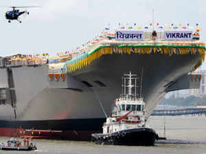 A commentary by official Xinhua news agency ruled out any arms race as result of the launch of INS Vikrant. (Pic by AFP)
