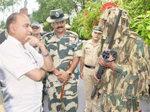 Union Home Secretary Anil Goswami during a visit at Suchetgarh Indo-Pak int'l border of R.S Pura sector on Friday.