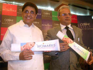 A file picture of Kiran Bedi during the launch of 'NoMarks Cosmeceutical range' along with S C Sehgal, chairman and Managing Director of Ozone group.