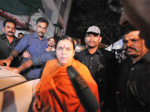 Uma Bharti suggested an out-of-court settlement on the Ayodhya dispute involving a joint effort by PM Manmohan Singh,  Mulayam Singh Yadav and L K Advani.
