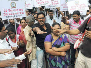 Ganta Srinivasa Rao, C Ramachandraiah, Galla Aruna Kumari, Erasu Pratap Reddy, Md Ahmedullah, TG Venkatesh -- ministers from Andhra-Rayalaseema region who tendered their resignations from the Cabinet protesting the state's division -- stayed away from the meeting chaired by Chief Minister N Kiran Kumar Reddy.(File Photo: Image of protests before Andhra Pradesh's bifurcation)