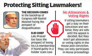Convicted MPs, MLAs safe for now, centre saves legislators from disqualification